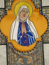 TRADITIONAL hand made Blessed Mother VESICA for vestments Catholic appliqué NEW!