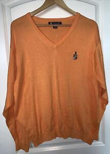EVERGLADES CLUB Palm Beach Mens V Neck Sweater 100% Cotton Sz Large
