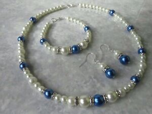 Silver Plated White Pearl And Royal Blue Pearl Necklace Bracelet & Earring set