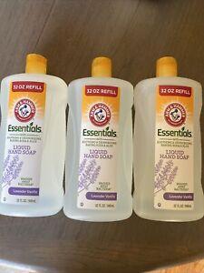 Lot Of 3 Arm & Hammer 32 Oz Each Essential Lavender Vanilla Liquid Hand Soap