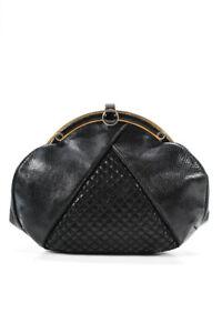 Judith Leiber Womens  Karung Clutch Handbag Black Gold