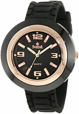 NEW Swistar 453-47L Womens Ceramic & Rose Gold Plated SS Black Rubber Band Watch