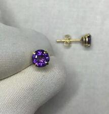 Deep Purple Amethyst Ohrring Ohrstecker 9k Gelbgold Runde Cut 5mm 0.85ct