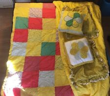 Vintage Comforter Set Yellow Flowers W/ 2 Pillow Cases & 2 Decor Pillows