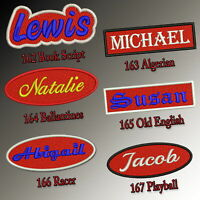 "Custom Embroidered Name Patch 4""-5"" Iron on Tag Red Rectangular Oval Freehand"