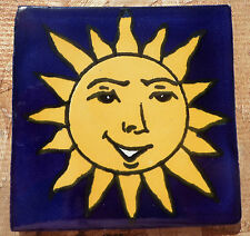 """10~Talavera Mexican 4"""" tile pottery handmade BLUE Smiling SUN Washed background"""