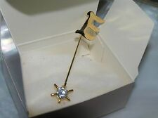 Vintage Avon Sparkling Initial E with Star & Clear Rhinestone Goldtone Stick Pin