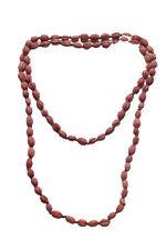 Earthly Eco Chic-Negro Rojo Arcilla granos collar largo adornado de madera (Zx253)