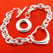 Silver S/F T'Bar Cuff Heart Design Bracelet Bangle Genuine Real 925 Sterling