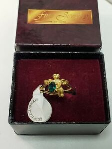 Ladies SETA Gold Plated Angel Ring Size 10 Green Stone USA New in Box
