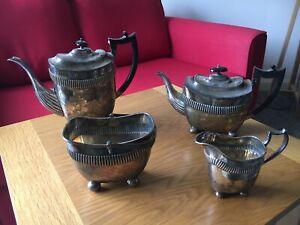 Vintage Sheffield Silver Plated Coffee Pot, Teapot, Sugar Bowl and Milk Jug Set