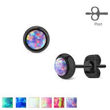 FAMA Opal Bezel Set Black IP Over 316L Surgical Steel Stud Earrings