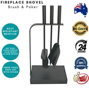 Decofire Fireplace Fire Place Tool Set 3 Piece Shovel Brush Poker Steel Black