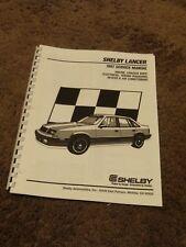 1987 Shelby Lancer 2.2L Turbo Service Manual Supplement Dodge
