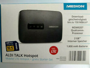 Medion Mobiler LTE Hotspot WLAN Router + starter set/150 MBit 2GB  Aldi Talk