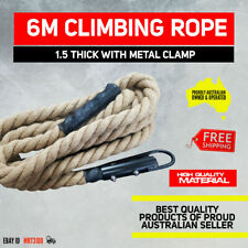 """6 Meters Long Climbing Rope 1.5"""" with Metal Clamp Crossfit Gym"""