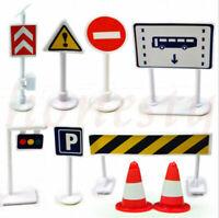 9pcs/set Plastic Road Traffic Sign Model Set Kids Toddler Pretend Play Toy Gift