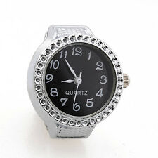 Ring Watch Quartz Silver Alloy Black Sphere for Women Dame LW
