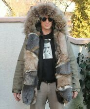 100% Real Fox Fur Jacket With Hood Parka Outwear Clothing Garment Fashion
