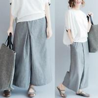 Vintage Women Flax Loose Stripe Wide Leg Pants Cotton Linen Long Ninth Trousers