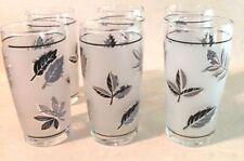 Vintage Libbey Frosted Silver Leaf Juice Glasses 1968 Set of 6 Libby