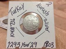 Turkey/ Ottoman Empire 2 Kurush 1293 year 29 (1903 ) Abdulhamid II, Silver Coin