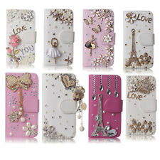 New Luxury Bling Diamonds Rhinestone Cards Leather Flip Wallet Phone Case Cover