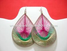 """Wholesale 12 pairs of Metallic Thread Peruvian earring 3.5"""" Assorted colors 275A"""