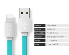 USB 2m Cable for iPhone 8 7 6 6s SE 5s Data Sync Flat iPad mini/air/pro charger