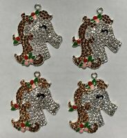 "4 Beautiful UNICORN 2"" Rhinestone Enamel Charm Pendants For Crafts Jewelry"