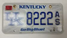 "2012 KENTUCKY ""Go big blue!"" University of Kentucky License Plate 8222 AS"