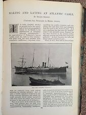 Atlantic Cable Laying Steamer Faraday Rare Old Victorian Photo Article 1896-97