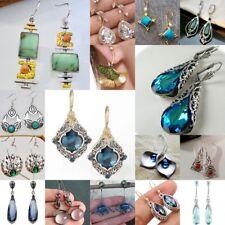 925 Silver Emerald Sapphire Turquoise Earrings Ear Clip Hook Dangle Drop Gift