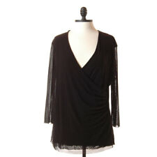 Sweet Pea Stacy Frati Sheer Black Ruched Wrap Top Mesh Blouse Plus Size 2XX