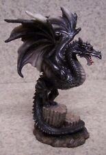 "Figurine Dragon on a Broken Column Medieval Fantasy Mythology New w gift box 6"""