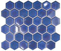 Mosaikmatte Mosaikfliesen Mosaik Hexagon 3D Stahlfarben glänzend 262x230 mm