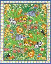 Jungle Maze - Animal Cot Quilt Panel - Quilting Craft Panel - Cotton Fabic