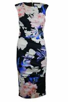 Womens Ladies Coast Fitted Pretty Floral Ruched Detail Scuba Zip Lined Dress