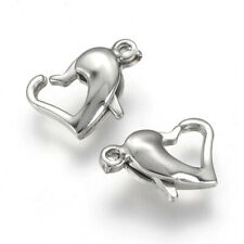 10pcs Heart 304 Stainless Steel Lobster Claw Clasps Jewelry Making 11.5x8mm