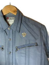 Life & Glory Men's  Blue Cotton Short Sleeve Shirt Size M ( H2 )