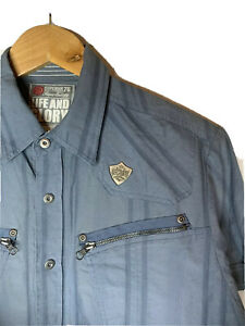 Life & Glory Mens  Blue Cotton Short Sleeve Shirt Size M ( H2 )