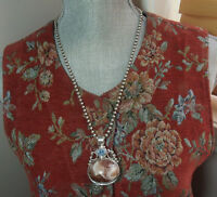 Vintage Sterling Silver Super Heavy Blue Topaz Agate 24 Inch Bead Necklace