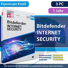 Bitdefender Internet Security 2021 für Windows 3 PC 1 Jahr - Aktivierungscode