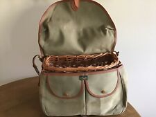 Brady Halesowen Vintage Creel Fishing Bag Basket Handmade England Italian Canvas