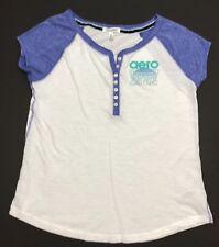 Aeropostale Womens White & Blue Henley Logo T-Shirt - Size L