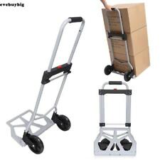220lbs Fold Shopping Load Cart Luggage Trolley Hand Truck Dolly Wheel Silver hot