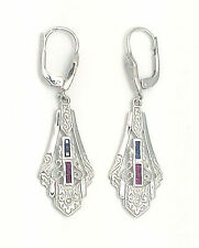 Art Deco Earrings Sapphire Ruby Brilliant 925 Sterling Silver
