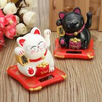 Solar Powered Waving Paw Welcome Fortune Cat Lucky Maneki Neko Home Car Decor