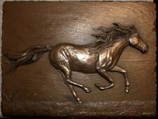 LARGE Cold Cast Bronze GALLOPING HORSE Wall Art Sculpture Relief HANDMADE