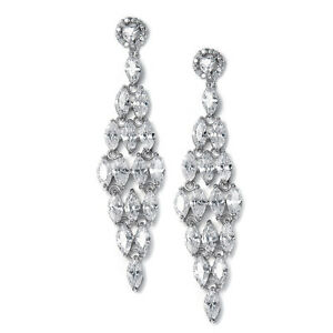 BRIDAL CHANDELIER GENUINE CUBIC ZIRCONIA EARRINGS with MARQUIS by MARIELL